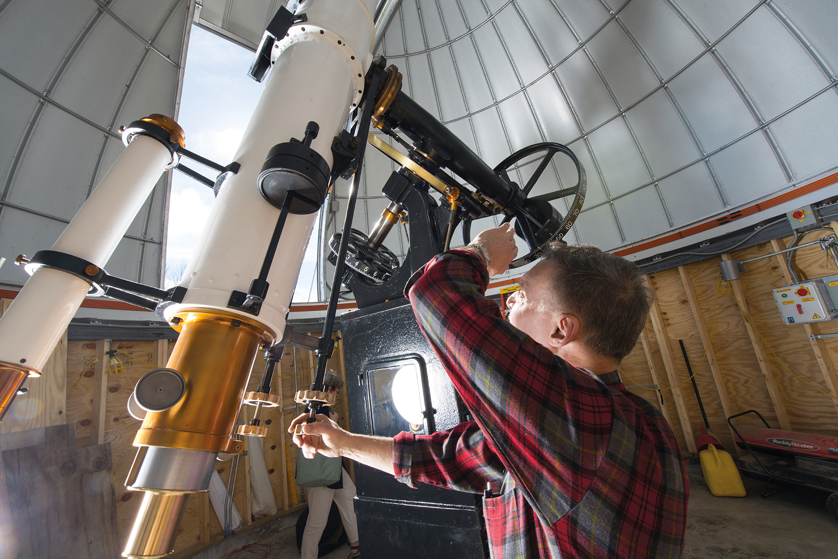 Celestial bodies now shine brighter through the restored Fecker telescope at OHIO's new observatory in Athens. The scope is used by both the OHIO and Athens communities. Photo by Ben Wirtz Siegel, BSVC '02.