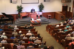 Pastor Doug Zehr led worship for the special anniversary service April 15 at Oak Grove Mennonite Church in Smithville.