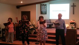 Song leaders at Pine Grove Mennonite Church's closing worship service were (left to right) Ruth Ann Yancey, Trudy Partee, Wendy Borton and Earles Schmucker.
