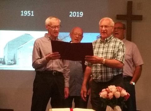 The Schmucker brothers, including from left to right, Earles, Wayne, Arlan and Jerry, sang several hymns at Pine Grove Mennonite Church's closing worship service.