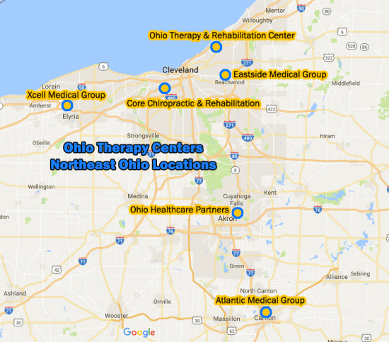 Ohio Therapy Centers locations in Northeast Ohio map Cleveland Akron Canton Brooklyn Euclid Elyria