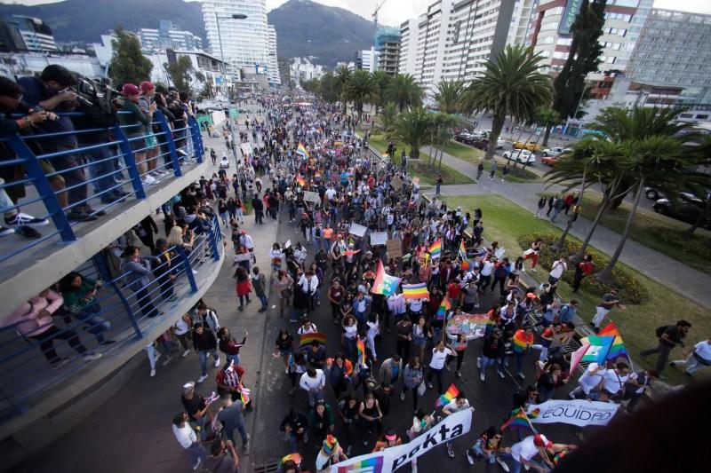 Revelers attend the Gay Pride Parade in Quito, Ecuador, Saturday, June 29, 2019. (AP Photo/Dolores Ochoa)