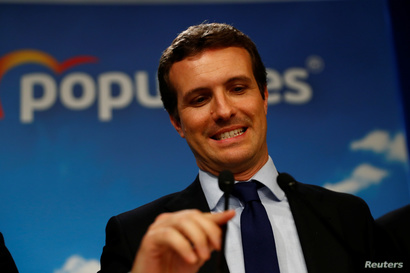 People's Party (PP) candidate Pablo Casado speaks after the counting of the votes in Spain's general election in Madrid, Spain,…