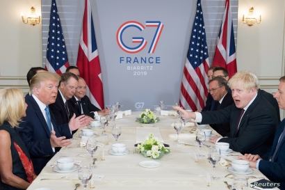 Britain's Prime Minister Boris Johnson meets U.S. President Donald Trump for bilateral talks during the G-7 summit in Biarritz,