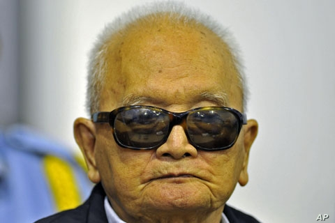 FILE: Khmer Rouge 'Brother Number Two' Nuon Chea attends a public hearing at the Extraordinary Chambers in the Courts of Cambodia, on the outskirts of Phnom Penh, October 19, 2011.