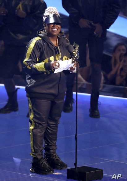 Missy Elliott accepts the Video Vanguard award at the MTV Video Music Awards at the Prudential Center on Monday, Aug. 26, 2019, in Newark, N.J. (Photo by Matt Sayles/Invision/AP)