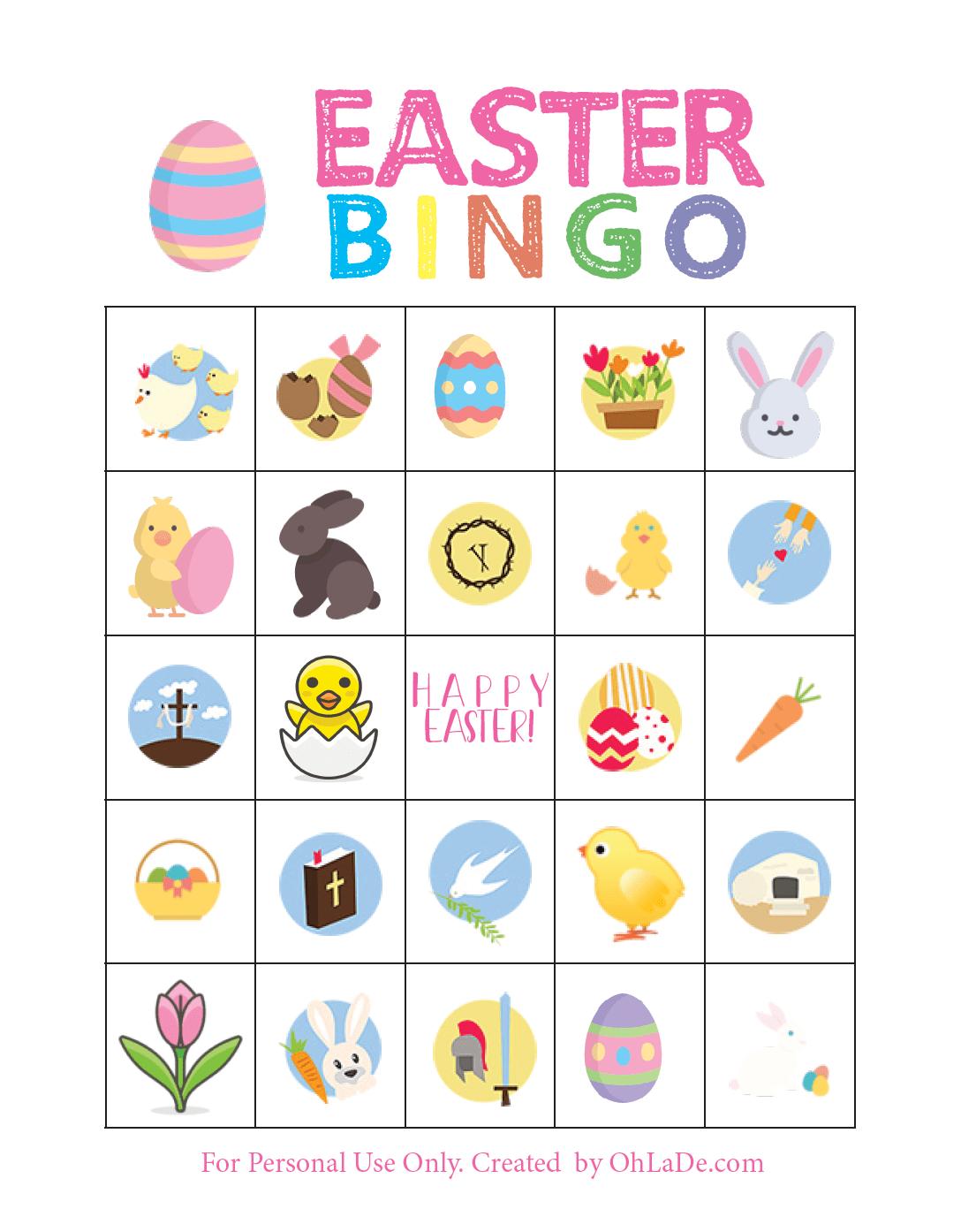 photograph about Free Printable Easter Bingo Cards known as Enjoyable Printable Easter Bingo Video game Oh La De