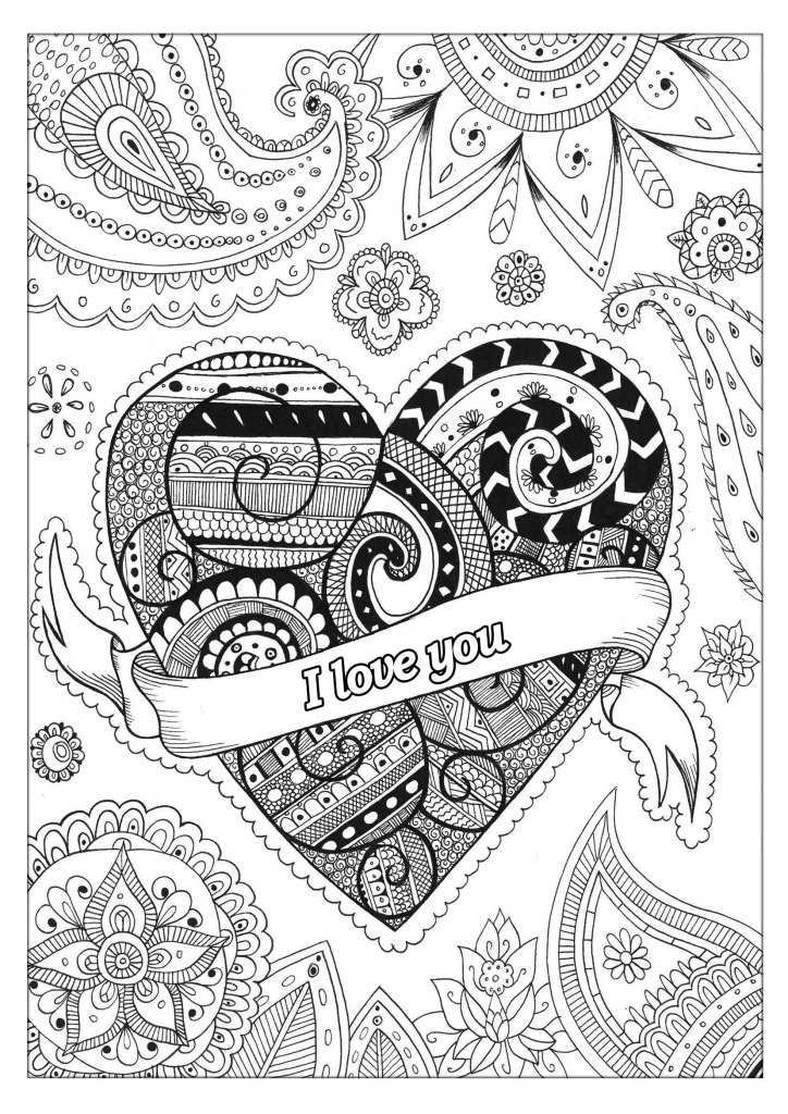 Valetines adult coloring pages