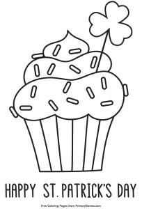 St Patricks Cupcake Coloring Page