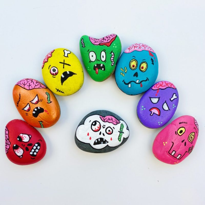Halloween Colorful Zombie Painted Rocks