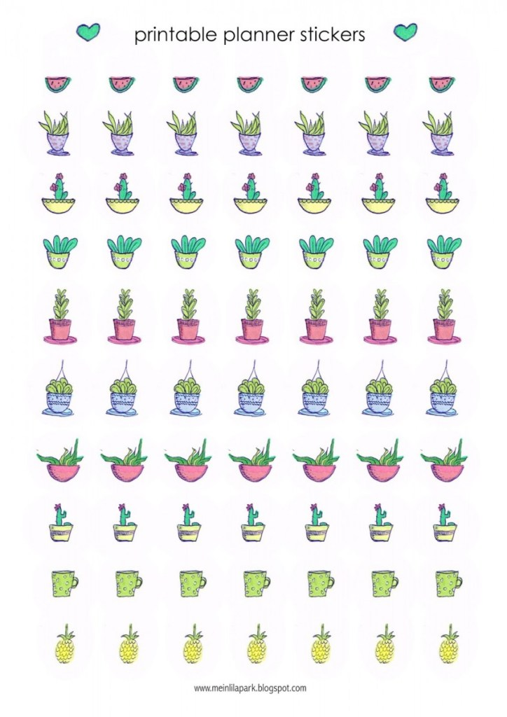 printable planner stickers with cactus