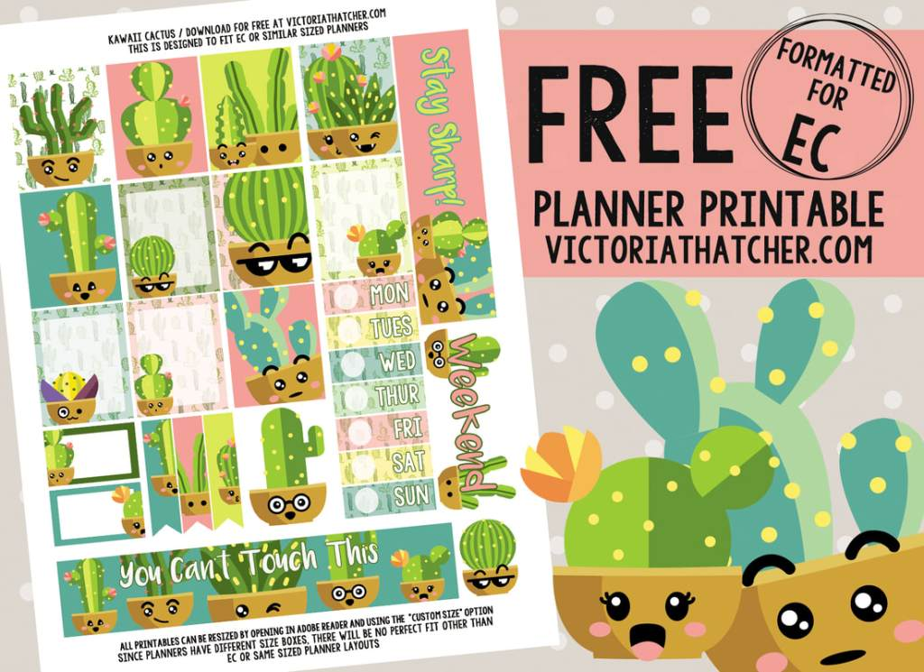 cactus stickers for planner