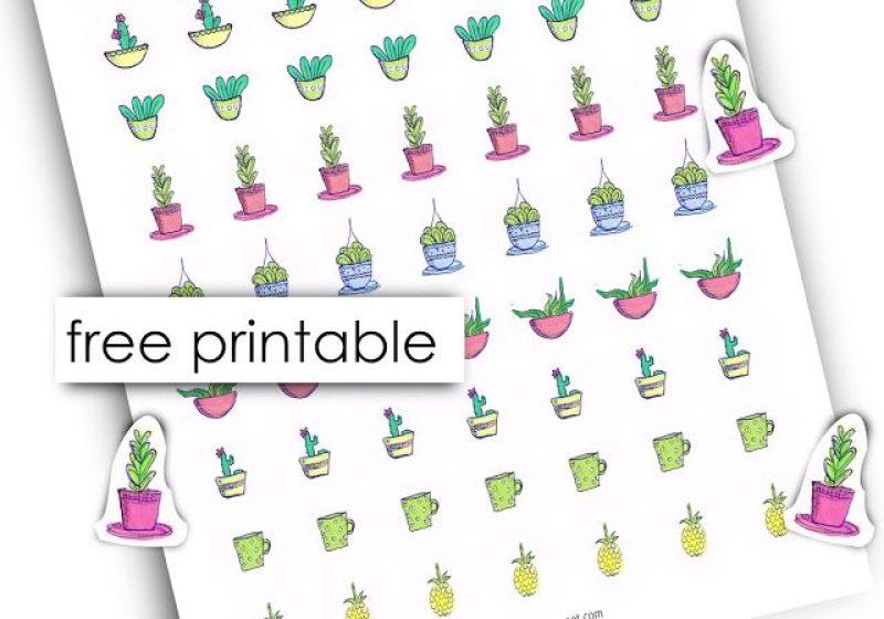 Free printable cactus stickers