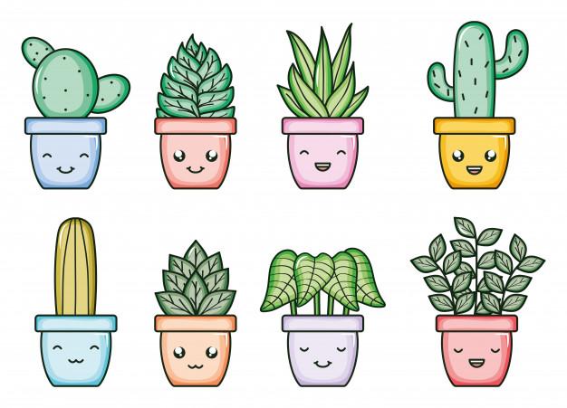 kawaii cactus stickers