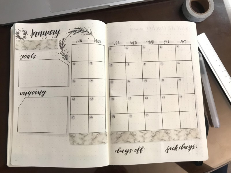 January Bullet Journal Calendar