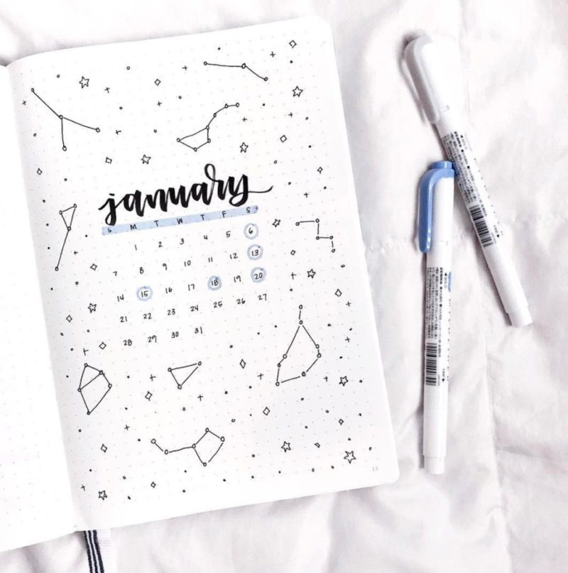 January bullet journal calendar cover