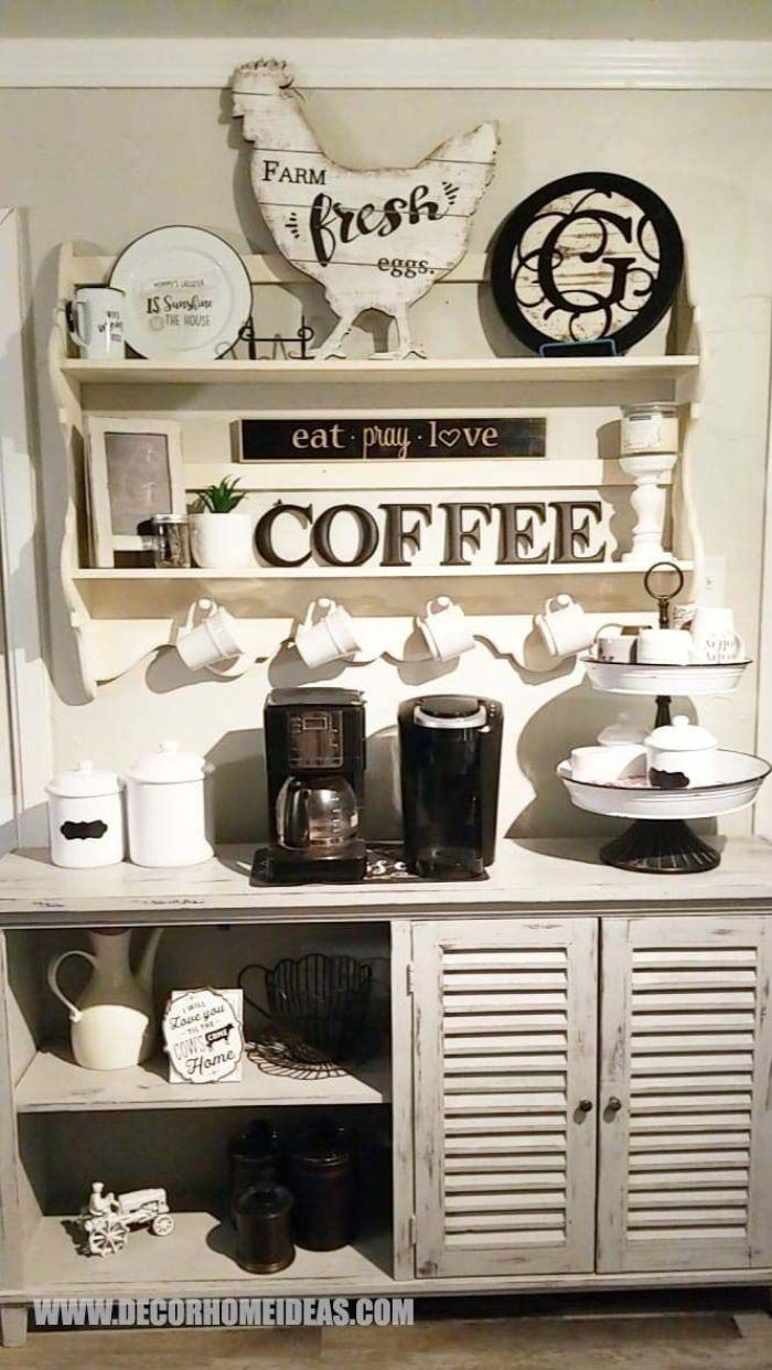 farmhouse coffee bar table