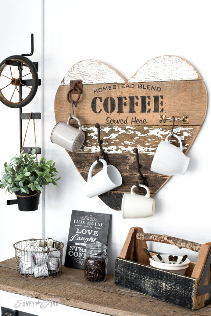 wooden heart coffee mug holder set up