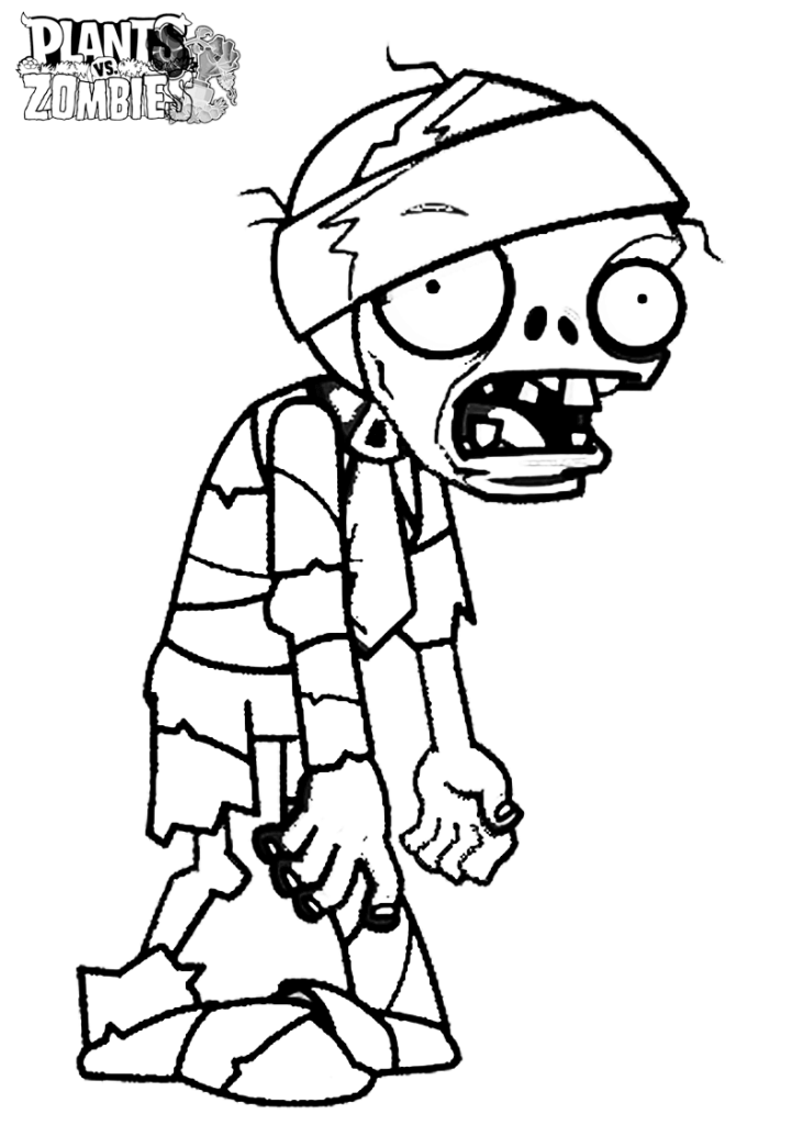 Mummy Zombie- Plants vs. Zombies coloring pages