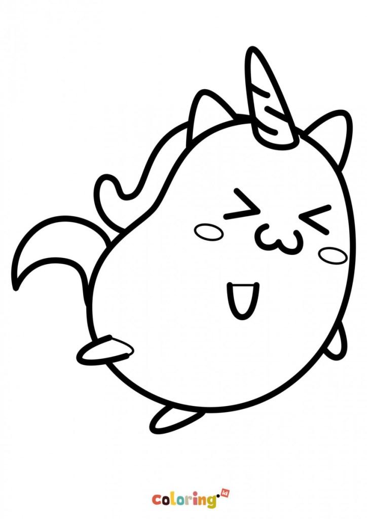 Unicorn Kawaii Coloring Page