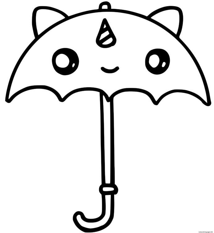 Kawaii Coloring Page Umbrella