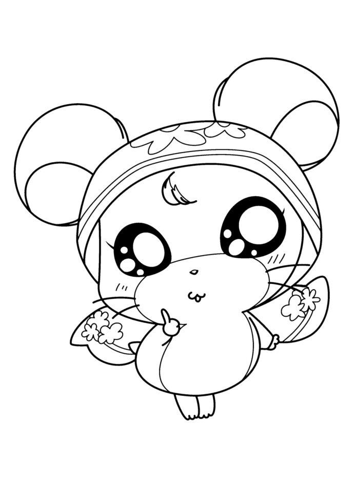 Mouse Kawaii Coloring Page