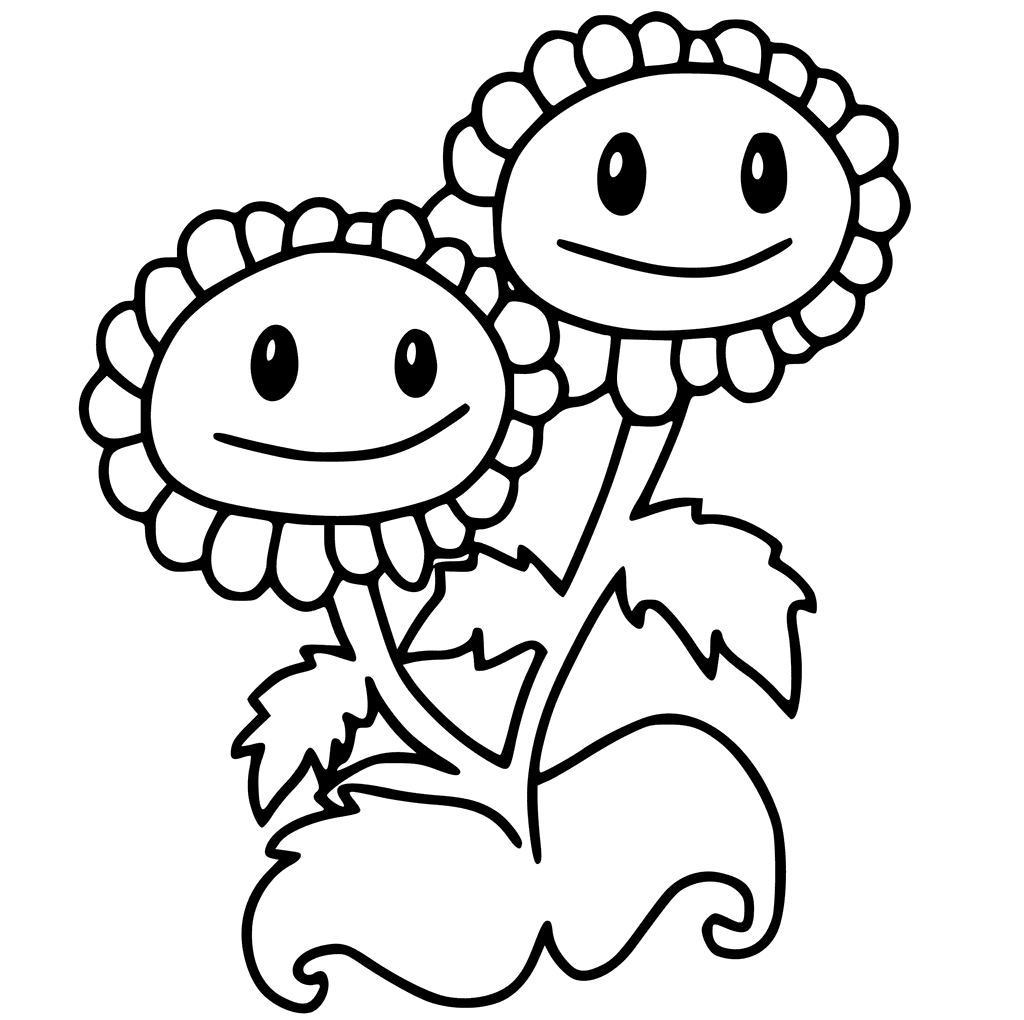 Plants vs. Zombies coloring pages Twin Sunflower