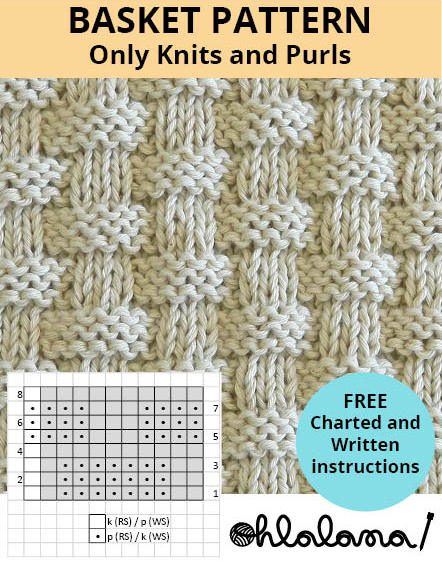 BASKET knitting pattern BASKET stitch pattern ohlalana