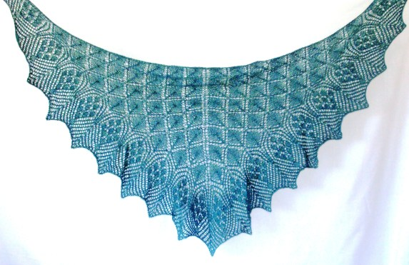 Blocked lace shawl