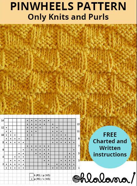 PINWHEELS knitting pattern PINWHEEL stitch pattern ohlalana