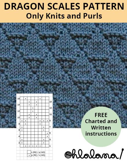DRAGON SCALES knitting pattern DRAGON SCALES stitch pattern ohlalana