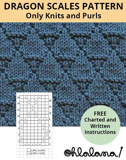 DRAGON SCALES knitting pattern DRAGON SCALES stitch pattern ohlalana