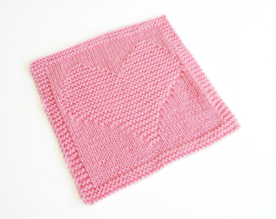 HEART dishcloth knitting pattern HEART blanket block heart square pattern ohlalana