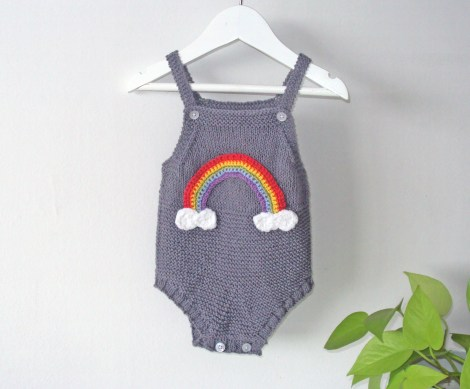 Rainbow romper - dark grey