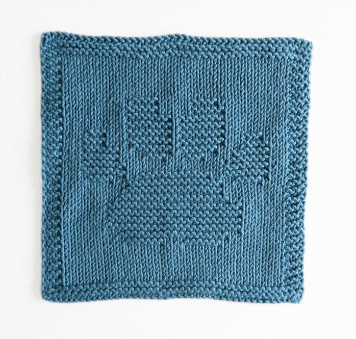 DOG PAW dishcloth, DOG PAW pattern, BEGINNER BLANKET MKAL 2020, DOG PAW dishcloth pattern, DOG PAW knitting pattern, OhLaLana dishcloth free pattern
