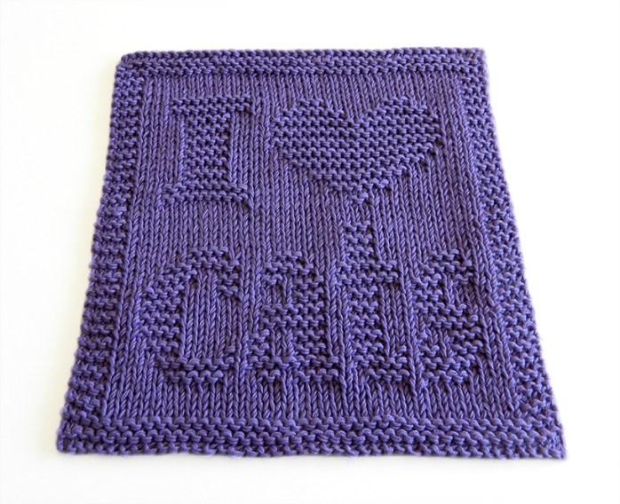 I LOVE CATS dishcloth, I LOVE CATS pattern, CAT dishcloth pattern, CAT knitting pattern, OhLaLana dishcloth free pattern