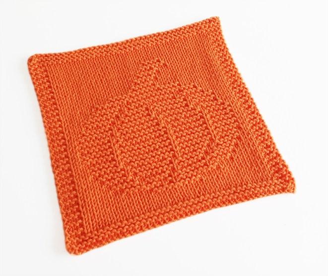 PUMPKIN knitting pattern, PUMPKIN dishcloth, PUMPKIN pattern, BEGINNER BLANKET MKAL 2020, OhLaLana dishcloth free pattern