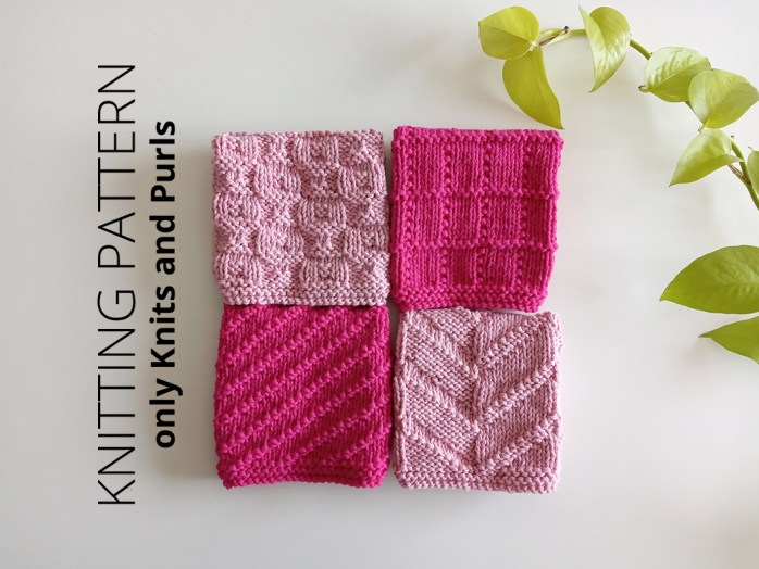 DISHCLOTH SET 3 - 4 knitting patterns for dishcloths or blocks. Includes photos, and charts. BEGINNER (only knits and purls). Oh La Lana!