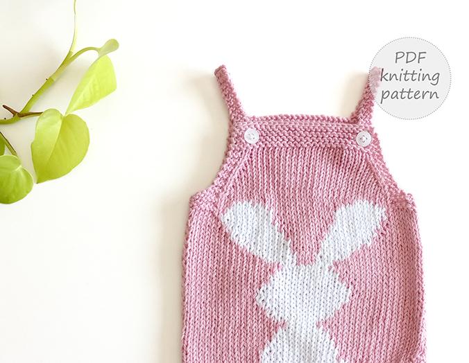 bunny baby romper knitting
