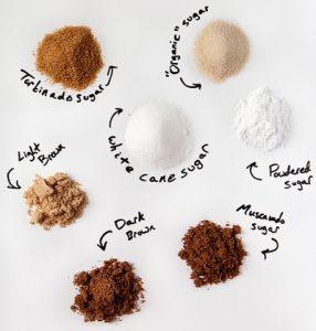 Différents sucres en poudre