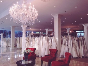 More designer wedding gowns than I could have ever imagined. It would take probably a month to try them all on…