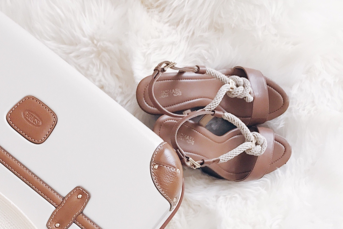 ohmybonbon your new favorite vacation shoes Michael Kors Luggage Leather Wedge Sandals