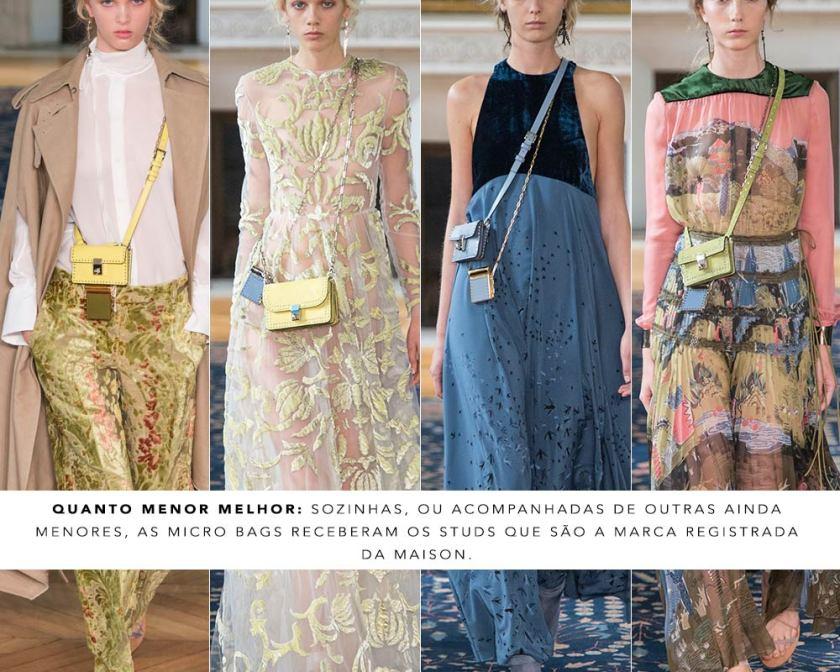Micro bags desfile Valentino PFW bolsas tendências Oh My Closet Mônica Araújo.