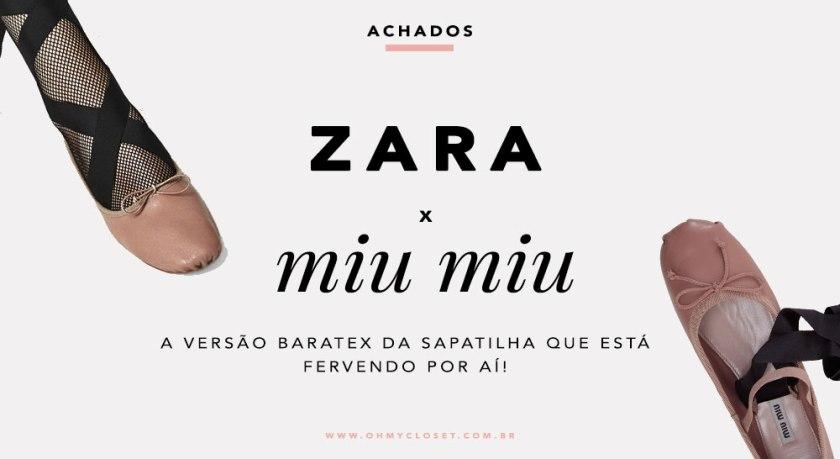 Sapatilha da Zara Inspirada na Ballet Flats da Miu Miu