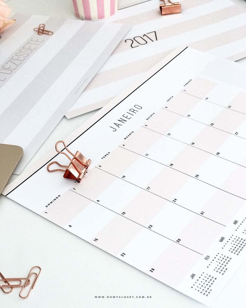 Planner mensal 2017 minimalista do Oh My Closet por Mônica Araújo. Freebie com download grátis. Printables.