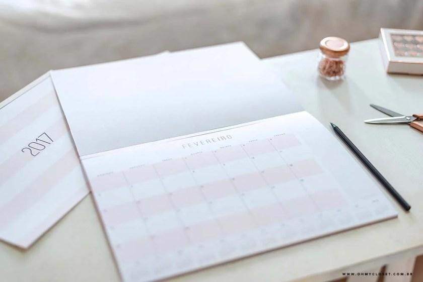 Planner mensal minimalista 2017 do Oh My Closet por Mônica Araújo. Freebie printable.