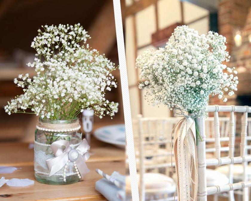 Enfeite Home décor com gipsófila ou mosquitinho. Veja as dicas de decoração no Oh My Closet!