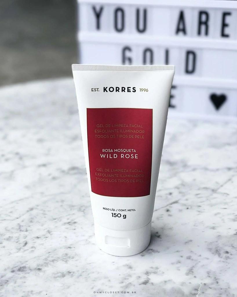 Produtos Korres gel esfoliante rosa mosqueta review resenha Korres maquiagem, Dica do Oh My Closet!