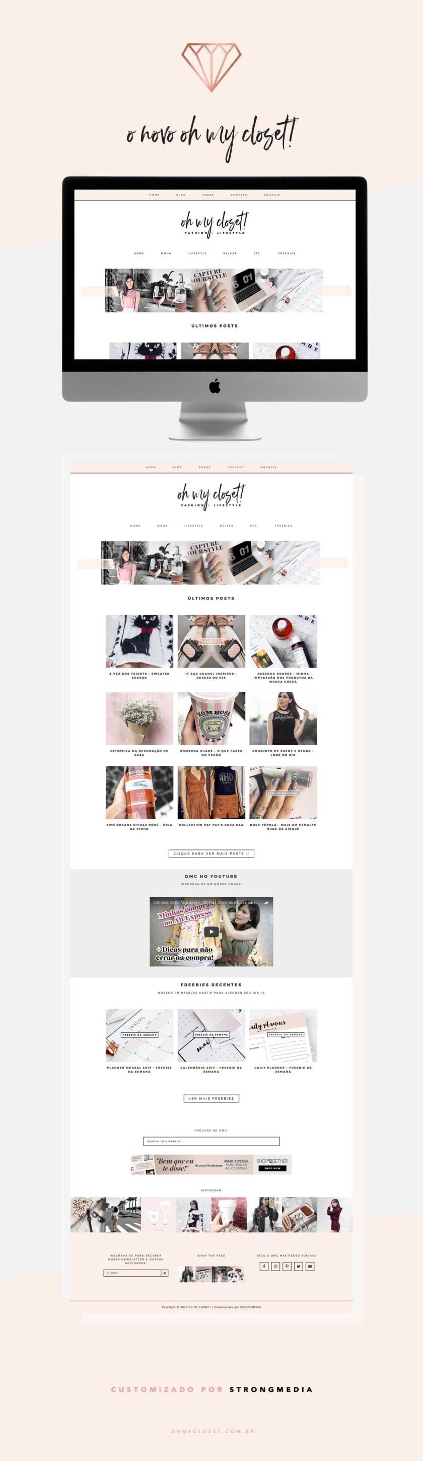 Novo template do blog de moda e lifestyle Oh My Closet, por StrongMedia.
