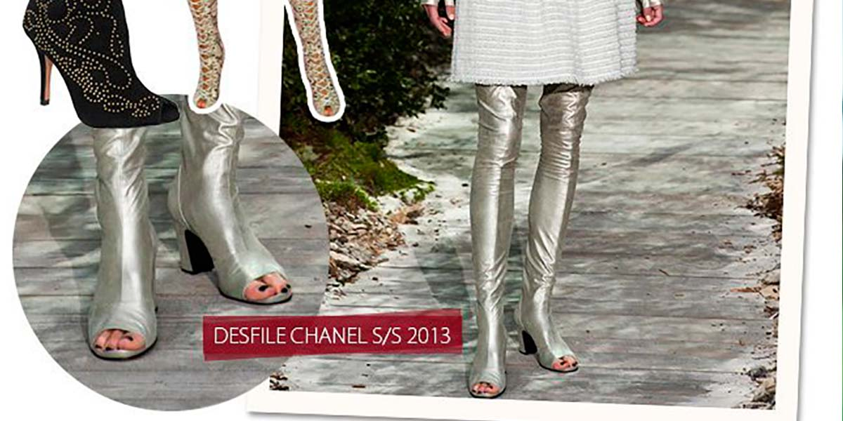 Open boots over the knee Chanel